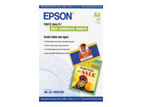 Epson Photo Quality Self Adhesive Sheets - Självhäftande - A4 (210 x 297 mm) - 167 g/m² - 10 stk ark - för Expression Home HD XP-15000; Expression Premium XP-540, 6000, 6005, 900 C13S041106